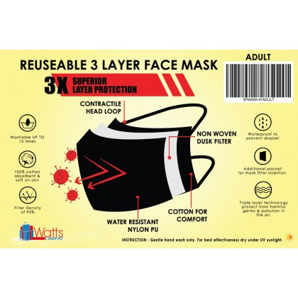 Face Mask 3-Ply with Filter Pocket 100% Cotton - Reusable and Washable