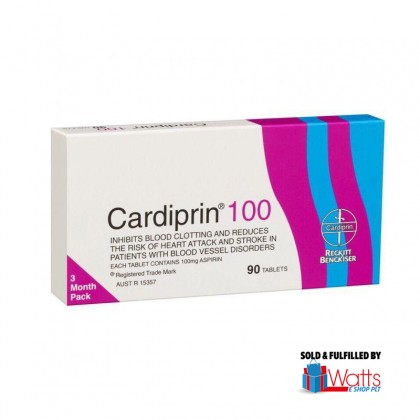 Cardiprin 100 (Aspirin 100mg) Strokes and Heart Attack Prevention 90 Tablets