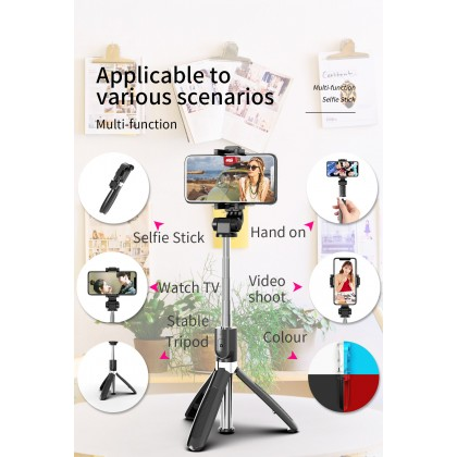 3-in-1 Bluetooth Selfie Stick Monopod Tripod for IOS Android