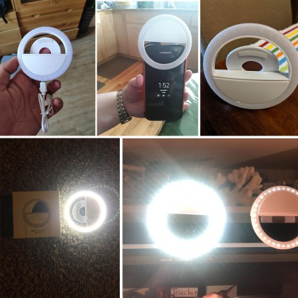 Rechargeable 36 LED Selfie Light Ring USB 3 Mode Brightness for Android iOS Phone