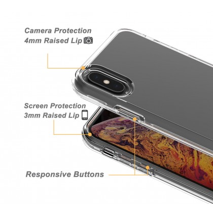 2-in-1 Clear Shockproof TPU PC iPhone Case for iPhone 12 11 Pro Max X XS Max XR 6 6S 7 8 Plus