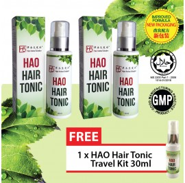HAO Hair Tonic 100 ml Twin Pack (Halal) FREE HAO Hair Tonic 30 ml Starter Set