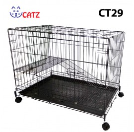 WCatz CT29 / C367 1-Level 1-Tier Cat Cage Collapsible With Wheels